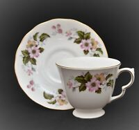QUEEN ANNE BONE CHINA ENGLAND CUP AND SAUCER SET PINK FLOWERS