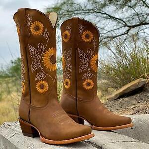Women Mid Calf Western Cowboy Boots Sunflower Low Block Heel Booties Short Shoes