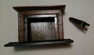 Vintage Miniature Furniture Dollhouse Mohogany Wood Fireplace & Blower