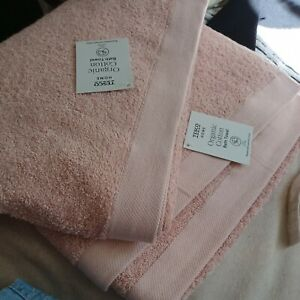 Organic 100% Cotton Bath towel pair  70 X 127 cm blush