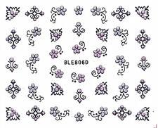 Nail Art Glitter Sticker Nailart Tattoo Glitzer Blüten Schnörkel Ble-806D