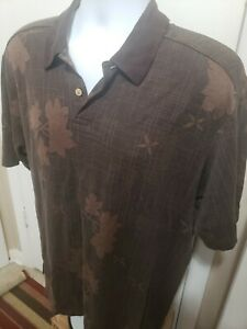 Tommy Bahama  Mens Brown Floral  Polo Shirt Size Large Short Sleeve