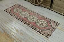 2.9x8.2 Turkish Oushak Runner Rug, Oriental Floral Hallway Faded Red Pink Beige