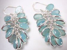 Blue Chalcedony Cluster 925 Sterling Silver Dangle Earrings Approximately 36 Gem