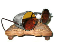 Antique WWII Amber Welsh Goggles Sunglasses Spectacles Vtg Old Steampunk Glasses
