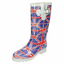 Wholesale Ladies Union Jack Wellington Boots 12 Pairs Sizes 3-8  X1209
