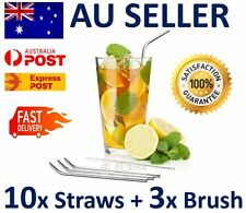 10 x Stainless Steel Metal Drinking Straw Straws Bent Reusable Washable +3 Brush