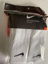 NWT 6 PAIR NIKE PERFORMANCE COTTON CUSHIONED CREW Mens Socks White Sz 8-12 Large
