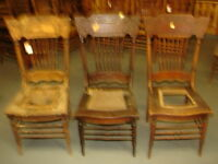 #62 - 3 Antique Pressed Back Chairs w/Foral Press - Restoration - GREAT