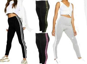 Ladies Women's Side Stripe Slim Fit High Waist Skinny Jeggings Stretch Leggings