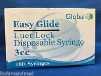 50- Easy Glide 3 cc Luer Lock Tuberculin Syringe 3ml Sterile NEW Only No Needle