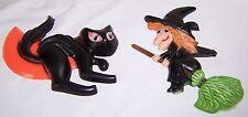 Vintage Witch on Broom, Black Cat with Half Moon Halloween Plastic Figures.