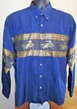 El Norteno Snap Front Western Wear Navy & Gold Cowboy Shirt Size Medium Mens EUC