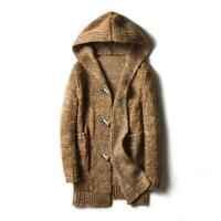 Men's Hooded Cardigan Casual Long Sweater Shawl Knitted Jumper Toggle Coat