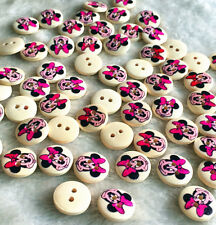 100pcs Wood Button 15mm Round Minnie 2 Holes Scrapbooking DIY Sewing Craft