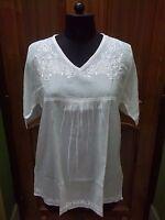 Tunique 100/% Coton Long S M L XL Handmade Haut Ethnique Chikan Embroidery Kurta Kurti