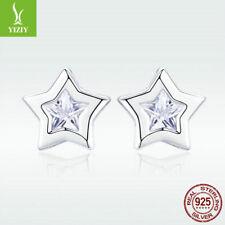 Fashion Women 925 Sterling Silver Ear Stud Earrings Star Charm Crystal Jewelry