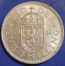 1961 1/- Elizabeth II Escaso chelín escocés-muy difícil de encontrar esta buena