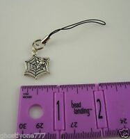silvertone Spider web Halloween black Cell Phone Charm cellphone purse cell
