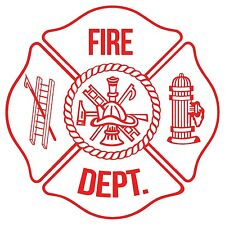 """Firefighter Decal/Sticker Maltese Cross White and Red Reflective 3"""""""