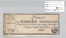 MANDAT TERRITORIAL - 25 FRANCS (SANS LE N° DE SERIE) 28 VENTOSE AN 4 RAMOZ