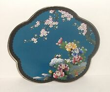 "INABA CLOISONNE BLUE ENAMEL FLORAL BLOSSOM BIRD 7""1/2 SCALLOPED PLATE SIGNED"