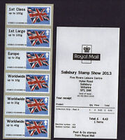 SALISBURY Post & Go FLAGS undated 6xNVI A3 2013 COLLECTORS STRIP  -  SCARCE