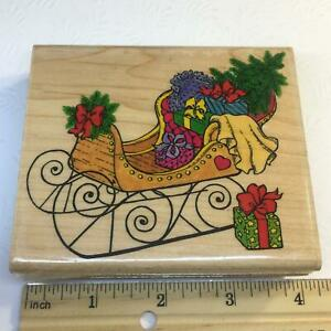 HOLIDAY SLEIGH w/ PRESENTS TREE by Penny Black Rubber Stamp Christmas