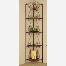 "Corner Tall Metal 4 Shelf Rack Display Stand Accent Etagere 75.5"" Goldish Copper"