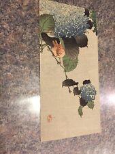 Kono Bairei Studio 1890S Original Woodblock Print Bird On Hydrangea Branch