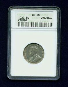 CANADA  GEORGE V 1922 5 CENTS COIN, ANACS CERTIFIED ALMOST UNCIRCULATED AU-58
