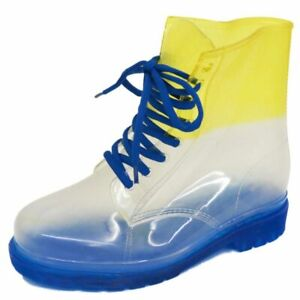 LADIES FLAT BLUE CLEAR FESTIVAL JELLY WELLIES LACE-UP RAIN ANKLE BOOTS SHOES 4-8
