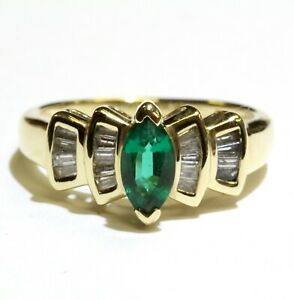 10k yellow gold .18ct SI1 G diamond Natural emerald womens ring 3.2g estate 5.5