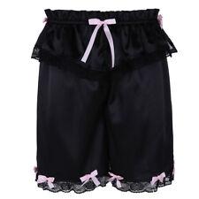 M Black Mens Shiny Lingerie Bloomer Pants Lounge Wear Lace Bowknot Underwear