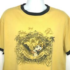 Disney Parks Mickey Mouse Ringer T Shirt XL Yellow Blue Walt World Authentic Top