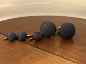 Vintage Tuxedo Blue Cloth 3 Shirt Pins Gold Tone Cufflink Set