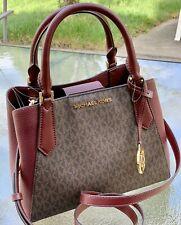 Michael Kors Kimberly Merlot Brown MK Signature Small Satchel  Tote Shoulder Bag
