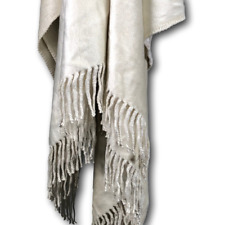 Lujo Home Brushed Silk Throw Blanket Rug with Fringe Neutral Stone - Bedding