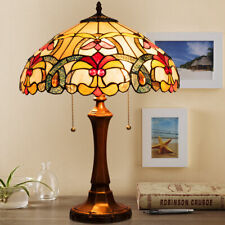 """Tiffany-Style Victorian 2-Light Table Lamp w/ 16"""" Stained Glass Shade Bedroom"""