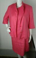 Talbots Irish Linen Dress suit set jacket blazer Size 12 Hot Pink Preppy EUC