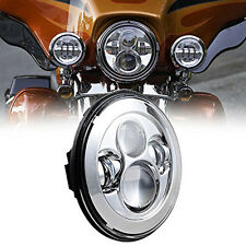 """For Harley FLD Touring 7""""Chrome Round Projector Daymaker HID Hi/Lo LED Headlight"""