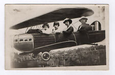 CARTE PHOTO Studio Décor peint Avion Aviation Postcard RPPC 1930 Toile peinte