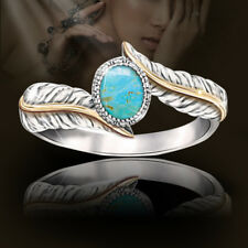 KD_ Women Silver Plated Turquoise Feather Ring Cocktail Party Wedding Jewelry