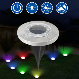 8 LED Solar Ground Lights Yard Garden Pathway Outdoor Disk Lights Color Changing