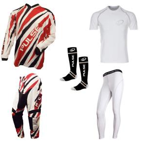 PULSE DIMENSION RED MOTOCROSS MX ENDURO ATV BMX MTB KIT + BASE LAYERS & SOCKS