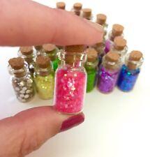 MINIATURE GLASS BOTTLES OF GLITTER Fairy Dust Sprinkles Jar Embellishments Cork