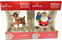 Hallmark 2018 Rudplh The Red-Nosed Reindeer And Santa With Gifts Ornaments