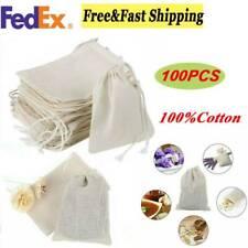 "100pcs Cotton Muslin Drawstring Reusable Bags Bath Soap Herbs Tea 4*6""/6*8"""