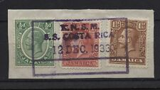 Jamaica 1933 3 KGV stamps on piece used with KNSM SS Costa Rica ship cancel