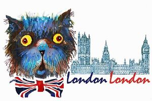 ACEO /Cat, London/ LE Print of Original Painting by L.Hahonina